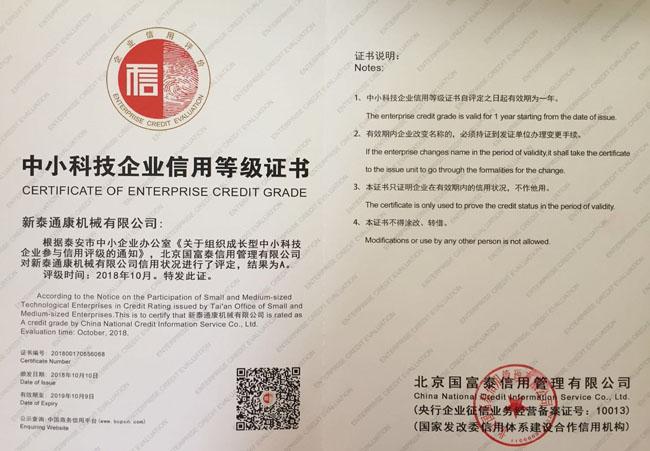 中小科技企业信用等级证书